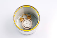 Can with clock Stock Images
