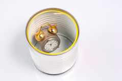 Can with clock Royalty Free Stock Image