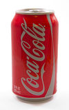 Can of Coca Cola. A shiny red can on coke or coca cola with a silver pop top Stock Photos