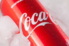 Can of Coca-cola on a bed of ice Stock Image