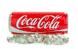 Can of Coca Cola on ice Royalty Free Stock Image
