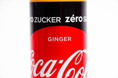 Geneva/Switzerland - 16.07.18 : Can of coca cola zero ginger edition sugar free. Can of coca cola isolated on white ginger flavor royalty free stock photography
