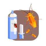 Can of cockroach insecticide and piece of chalk for the destruction of cockroach. Colorful cartoon illustration Royalty Free Stock Photos
