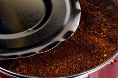 Can of Coffee. Photo of a Can With Coffee Grinds Stock Photography