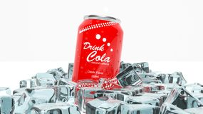 Can of cola in ice cubes Stock Photo