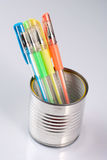 Can with colored pens Royalty Free Stock Photo