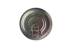 Can of conserved food on the white background, Plastic can food . Royalty Free Stock Photos