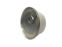 Can of conserved food on the white background, Plastic can food . Stock Photos
