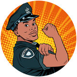 We can do it black policeman African American pop art avatar cha Stock Images