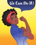 We can do it! Design inspired by classic feminist poster. Woman. Empowerment. Vector Illustration in cartoon style. African American girl with her fist raised stock illustration