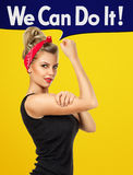 We can do it. Modern design inspired by classic american poster - We can do it. Empowerment of woman concept Royalty Free Stock Images
