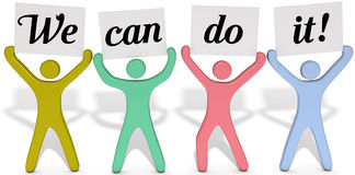 Can do people team signs. Four people team join to hold up We Can Do It signs stock illustration
