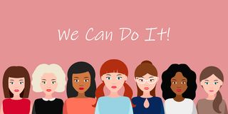 We Can Do It. Symbol of female power, woman rights, protest, feminism. Vector. We Can Do It poster. Strong girl. Symbol of female power, woman rights, protest stock illustration