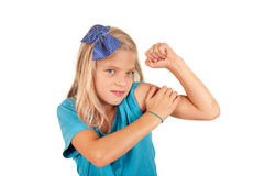 We can do it - small girl imitates the famous poster Royalty Free Stock Images