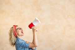 We can do it! Woman`s day concept stock photography