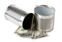 Can and dollars Stock Photography