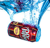 Can of Dr Pepper Cherry Vanilla soft drink in water. Stock Image