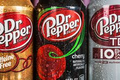 Can Dr. pepper drink with different flavor are available. Moscow, Russia-September 6, 2018: can Dr. pepper drink with different flavor are available.Dr Pepper royalty free stock photo