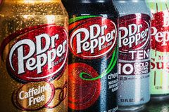 Can Dr. pepper drink with different flavor. Moscow, Russia-September 6, 2018: can Dr. pepper drink with different flavor are available.Dr Pepper carbonated soft stock photography