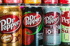 Can Dr. pepper drink with different flavor. Moscow, Russia-September 6, 2018: can Dr. pepper drink with different flavor are available.Dr Pepper carbonated soft stock images