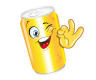 Can. Drink can cartoon character ok smiling funny Royalty Free Stock Photography