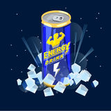 Can of Energy Drink on ice. power and refreshment concept - vect. Or illustration Royalty Free Stock Photos