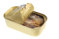 Can of fish stock photography