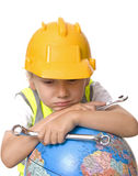 Can we fix the world. Young boy thinking can we really fix the world Royalty Free Stock Images