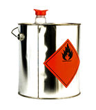 Can with flammable content. Isolated on white Stock Images
