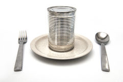 Can of food in plate. Stock Photography