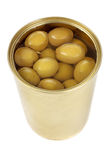 Can of green olives Stock Images