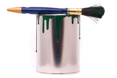 Can of green paint Royalty Free Stock Photography