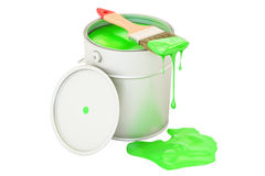 Can with green paint and brush, 3D rendering. Isolated on white background Stock Photo