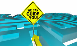 We Can Guide You Out Find Direction Maze. 3d Illustration Stock Images