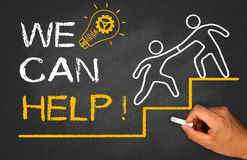 We can help. Concept on chalkboard Stock Image