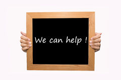 We can help !. Hand write We can help word concept Royalty Free Stock Image