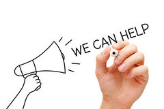 We Can Help Megaphone Concept. Hand writing with marker We Can Help going out of from a drawn megaphone Royalty Free Stock Photos