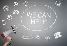 We can help. Megaphone talk bubble we can help handwritten message surrounded by icons Royalty Free Stock Image