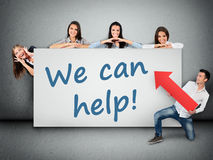 We can help word. Writing on white banner Stock Image