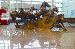 Horses sculpture, close-up, Calgary Airport, Canada royalty free stock photo
