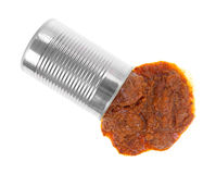 Can of hot dog chili spilling onto a white background Royalty Free Stock Image