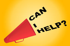 Can I Help? concept. 3D illustration of CAN I HELP? title flowing from a loudspeaker Royalty Free Stock Photography