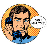 Can i help you man phone question online support. Business concept. Pop art retro style Royalty Free Stock Photos