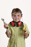 Can I make you something. Little boy ready to make something royalty free stock photos
