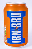 Can of Irn-Bru. LONDON, UK - JULY 7TH 2017: An unopened can of Irn-Bru, over a plain white background, on 7th July 2017 stock photography
