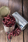 Can with Kidney Beans on wood Royalty Free Stock Photos
