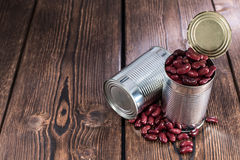 Can with Kidney Beans on wood Royalty Free Stock Images
