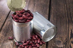 Can with Kidney Beans on wood Stock Photography