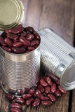 Can with Kidney Beans on wood Royalty Free Stock Image