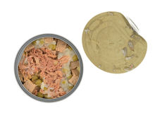 Can of lamb and duck dog food with lid Stock Photos